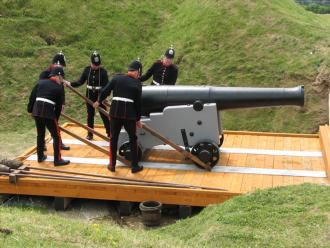64pr RML on a Garrison Carriage being fired by the Portsdown Artillery Volunteers