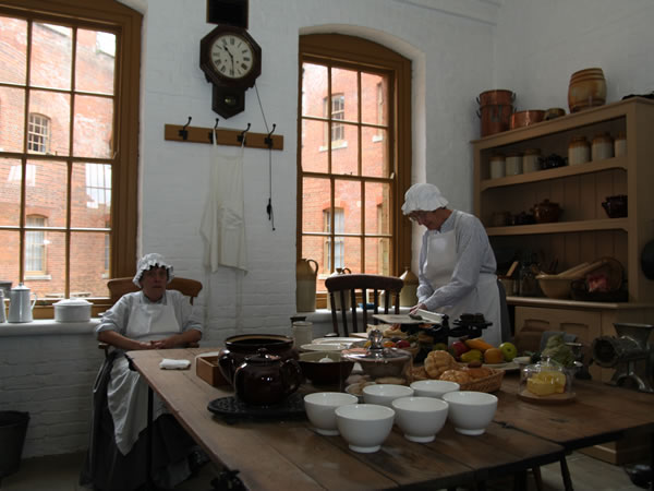 Fort Nelson officers mess kitchen, with two kitchen maids
