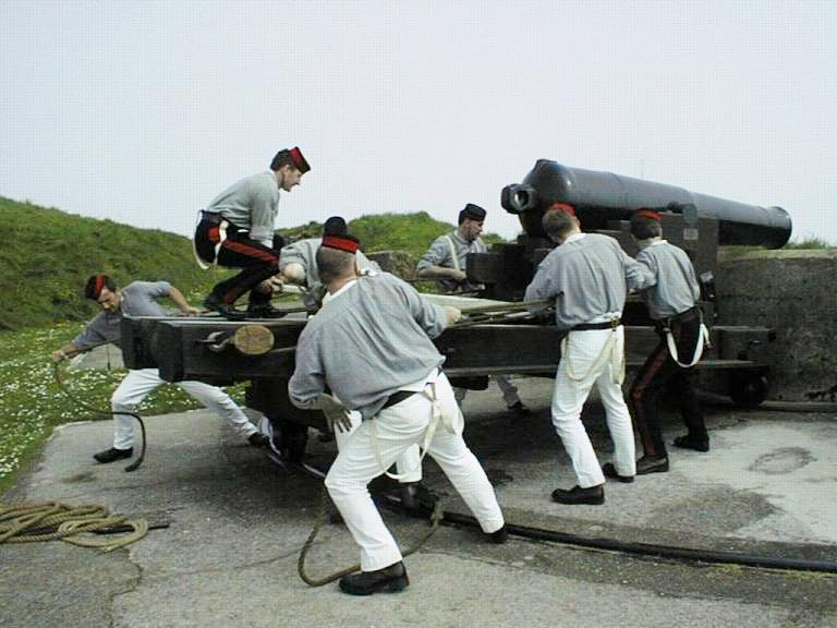 PAV working on the 8-inch shell gun at Pendennis Castle