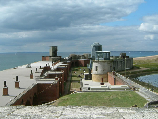 Hurst Castle West wing battery, from the castle roof