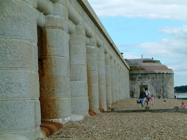Hurst Castle West wing battery, showing granite casemates